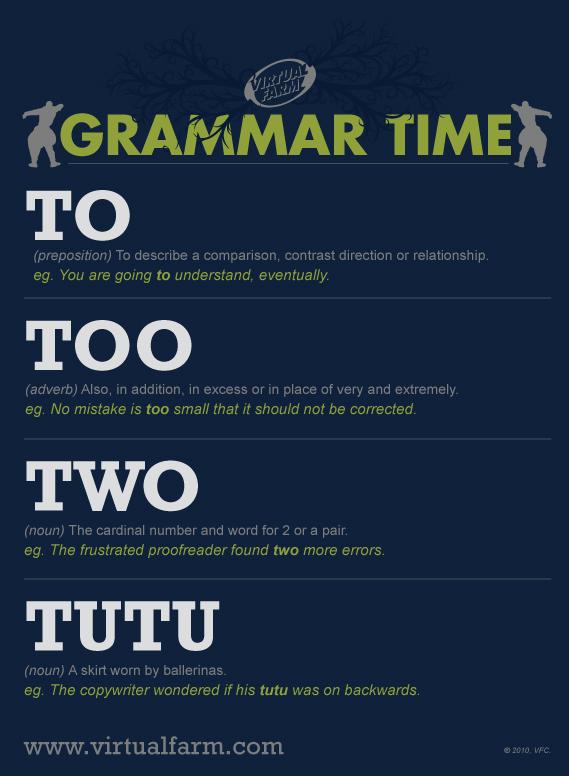 Grammar Time To Too Two Tutu Virtual Farm Creative Inc
